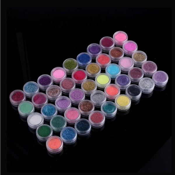 FY UV Manicure Decorate Nail Care Art Glitter Tips Dust Powder Sparkle Pigment Box 1 Set(China (Mainland))