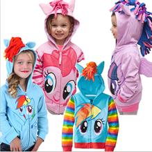 2015 My little pony girl children zipper hooded Hoodies Outwear children outerwear kids long sleeve hoody fleece kid clothing(China (Mainland))