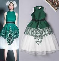 High Quality New 2015 Spring Princess Women Runway Dress Cotton Gauze Patchwork Princess Ball Gown Dress Birthday Party Elegant