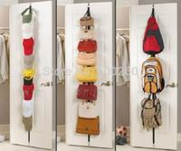 Hot sales Adjustable Over Door Straps Hanger Hat Bag Coat Clothes Rack Organizer 8 Hooks free shipping