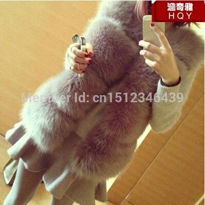 Free shipping France style Best quality faux rabbit fur coat mink fur grey black white color fur vest fur coat(China (Mainland))