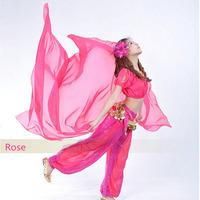Belly Dance Chiffon Big Veil Shawl Gold Trim 13 Colour