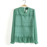 2015 New Women lace long sleeve shirt turn down collar slim blusas femininas DQ001
