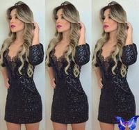 Vestido De Festa Fashion New 2015 Women Elegant Bodycon Club Dress vestido Com Renda Black Mini Sequins Dress Hot Sale