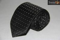 New Classic Striped white point black JACQUARD WOVEN 100% Silk Men's Tie Necktie