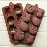 Silicone products Easter egg basket bunny chocolate ice lattice mold DIY 107