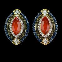 2015 Hot Sale Fashion luxury statement vintage earrings &  crystal wedding stud earrings ruby jewelry for women