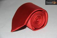 New Classic Plain Solid Red JACQUARD WOVEN 100% Silk Men's Tie Necktie