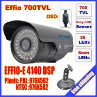 "Sno Korea Security 1/3"" Sony Effio CCD 700TVL OSD menu IR 30m outdoor waterproof CCTV camera with Bracket . Free Shipping"