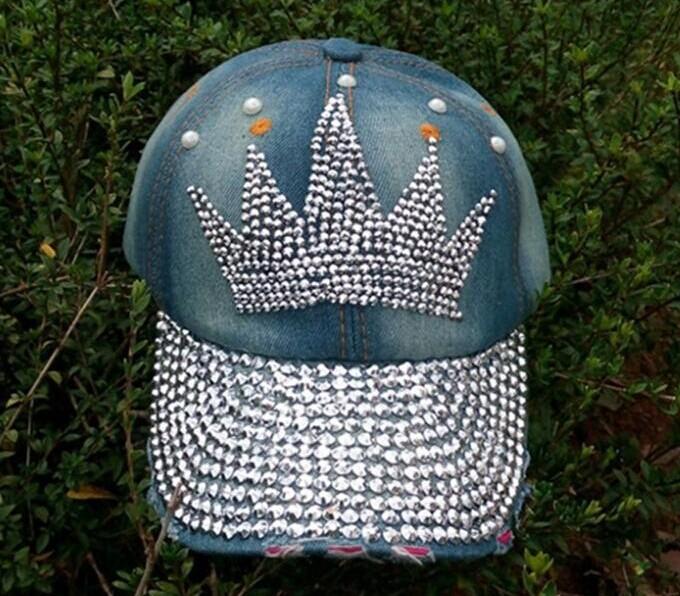 2015 crown pattern Diamond Point print cowboy washed denim caps women jeans baseball cap rhinestone Adults hats(China (Mainland))