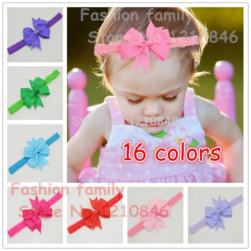Baby Bow Headband Hair Bowknot lace Headbands Infant Hair Accessories Girls grosgrain ribbon Bow Headband Toddler hair bands(China (Mainland))
