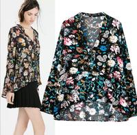 2015 Women Shirts Floral Print Zipper Blouses Vintage Long Sleeve Casual V Neck Blusas Femininas OL Lady Slim Brand Tops