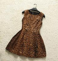 Europe Fashion Clothes Noble Quality Winter  O-Neck Sexy Club  Leopard Sheath mini dress  sleeveless  Dress new women