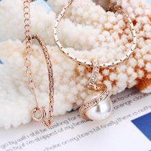 Free shipping Fashion jewlery Wholesale 18K Gold Plating Crystal Pearl Elegant Pendants Necklace Accessories N013