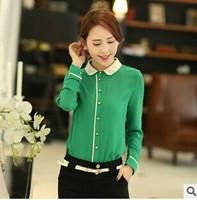 Long Sleeve Blouse Womens Shirt 2015 Spring Loose Korean Autumn Tops Button Peter Pan Collar A0345