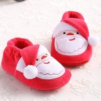 6pairs/lot 2015 Sale Idoor elastic cloth bottom girl boy first walkers cartoon Santa Claus infant bebe footwerars toddler shoes