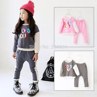 New 2015 spring children clothing multicolour letter girls kids fashion set child baby suit long-sleeve top harem pants twinset