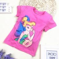 Kids Princess girls summer short-sleeved t-shirt brand of high-quality cotton casual wings princess cartoon children's  T shirt