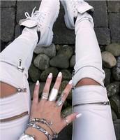 2015 Hot selling Free shipping woman's Fashion zipper hollow out thin leg slacks