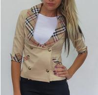 2015 Free shipping woman's Spring turn-down collar half sleeves slim Jackets