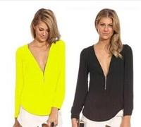 Hot Sale Womens Sexy Deep V Neck Long Sleeve Chiffon Shirt Zipper S-2XL 6Colors A0344