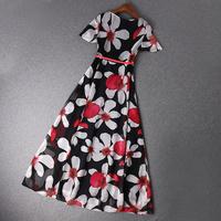 2014 news high quality print short-sleeved dress with belt  women dress