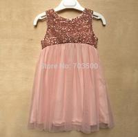 2015 Baby Girl Brand Sequined Mesh Tutu Vest Dresses, Children Elegant Party Dress Light  Pink 6 pcs/lot, Wholesale
