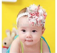 2015 new fashion infant Lace Weave Chiffon flower baby girls headband kidsToddler headwear children hair accessories