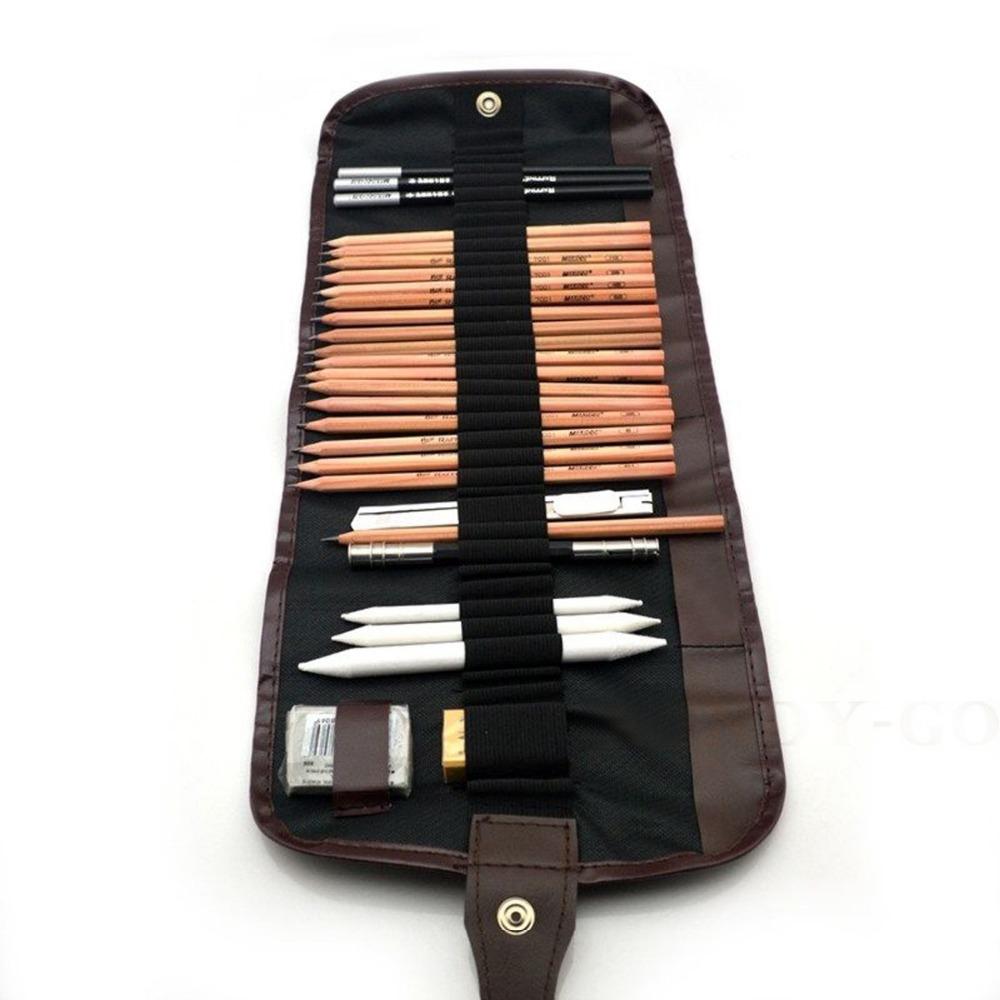 18 Piece Professional Sketch Pencils Charcoal Eraser Bag Drawing Tool kit beginner Art Supplies(China (Mainland))