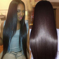 Free Shipping New Product Brazlian Virgin Hair Straight Glueless Lace Front Wigs With Middle Part #1B Color In Stock