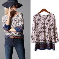 2015 Spring Blusas Ladies' Floral Pattern Print Vintage Casual Blouses Women Shirts O Neck Three Quarter Sleeve Retro Brand Tops