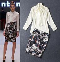 High Quality Women Suits 2015 Spring Fashion Skirt Suit Ladies Bow Collar White Shirt+Vintage Floral Print  Pencil Skirt(1Set)