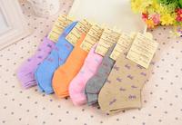 Free shipping!Hot Sale Perempuan Cute candy color bowknot Socks lady Boat Socks women socks 6pairs/lot