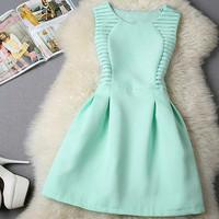 2015 new fashion women o-neck sleeveless casual mini dress Elegant Short Evening Party Dresses