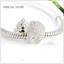 Hot Wholesale 2014 New Authentic 100% 925 Sterling Silver Zircon Beads Charm Women Jewelry DIY Fits Pandora Bracelet & Necklace