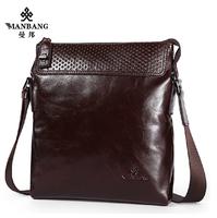Brand 2015 mens leather Messenger bags Luxury Cowskin Fashion Designer Black shoulder bags free shipping MBJ00254F