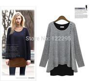 New Women / spring in Europe and America large size women / girls irregular modal loose long-sleeved T-shirt fake piece suit