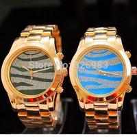 2015 New Brand Quartz Watch Luxurious Women Men Leopard Wristwatch Runway Twist Gold-Tone Stainless Steel Watch Rose gold Silver