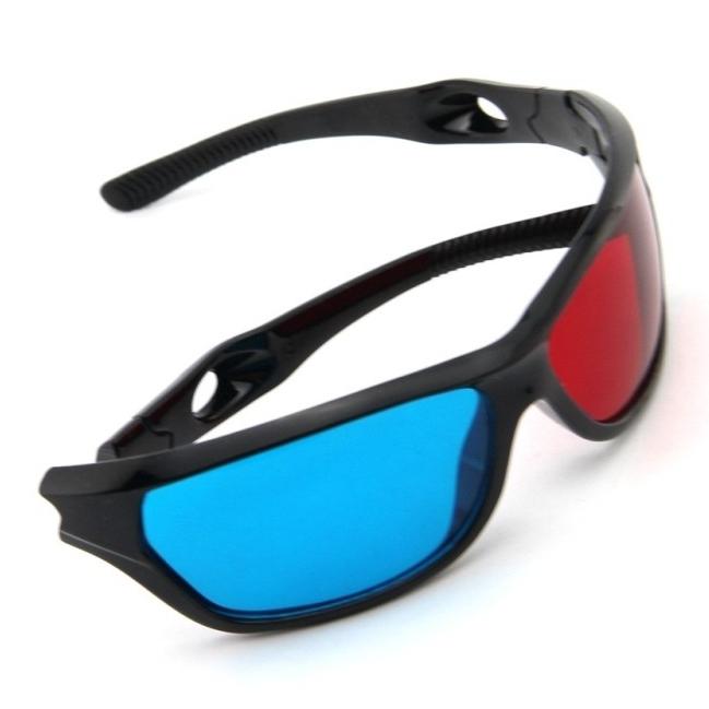 1 pcs/lote détail rouge bleu Plasma en plastique lunettes 3D TV Movie Dimensional anaglyphe 3D Vision encadrée lunettes de haute qualité(China (Mainland))