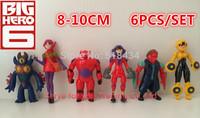 6Pcs/Lot Big hero Anime Cartoon Big Hero 6 Toys Dolls Hiro Hamada Baymax PVC Action Figure Collectible Toys Free Shipping