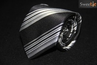 New fashion packaging  black and silver striped jacquard men's tie line thickness  suitable for wedding business free shipping