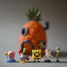 Мини красоты горячая распродажа губка боб садоводство горшки мясистые аквариум аквариум смолы ремесла украшения смолы украшения SpongeBobs дом