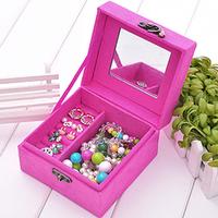 Fashion Classic Suede Jewelry Storage box Jewelry Gift Box Rose Red  Free Shipping  K5BO