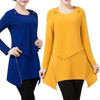 2015 Spring Vestido Women Dress O-Neck Long Sleeve Slim Zipper A-Line Dress Plus Size 4XL Solid OL Mini Dress Casual Dress