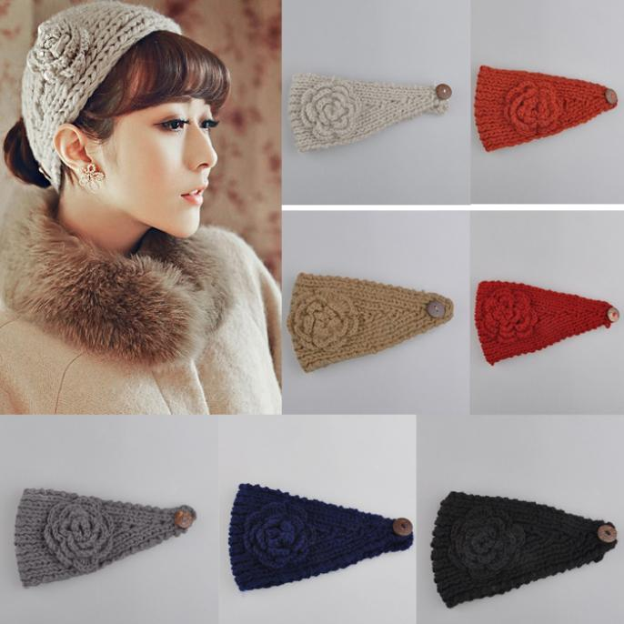Fashion Nice Women Lady Winter Warmer Knitted Flower Hair Head Band Warm Ski Ear Headband U Hot(China (Mainland))
