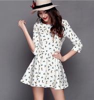 2015 New Spring summer Women casual dress bird printing dress Bodycon comfortable princess  Collect waist Short
