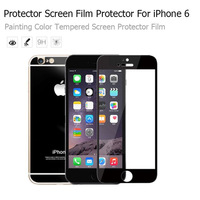 """Electroplating Mirror Effect Black color front and rear Tempered Glass Screen Protector Case For iPhone 6  4.7"""" Free Shipping"""