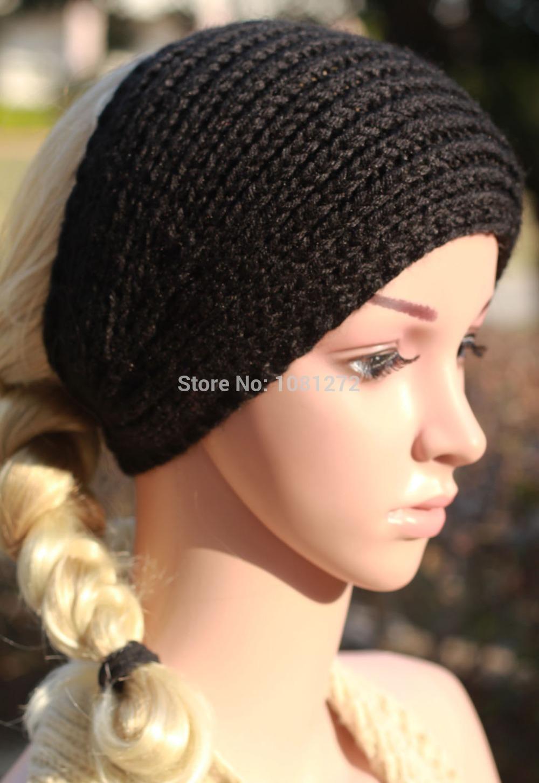 (6pieces/lot) Wholesale black Knit Headband,Knit Beanie Hair Accessory, wrap,headband pattern,Fall and winter hair accessory(China (Mainland))