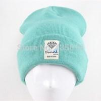 Cotton fashion diamond Beanies Skullies Warm Winter Knitted cotton caps Street Fashion Women hip hop sports cap hat freeshipping