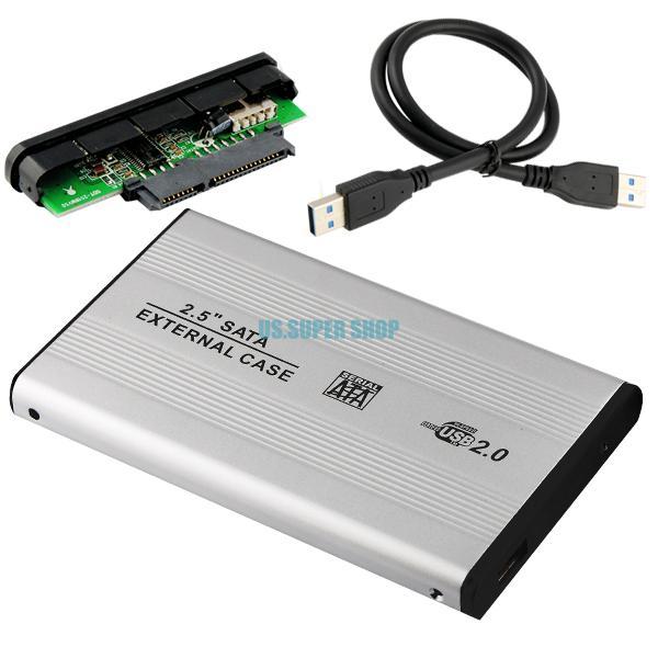 """Mobile USB 2.0 2.5"""" SATA HDD Hard Disk Drive External Enclosure Case Box Silvery EL5020(China (Mainland))"""